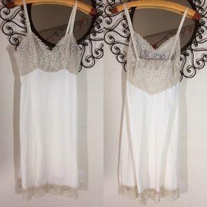 Vintage White Lace Slip Van Roalte DuPont Nylon